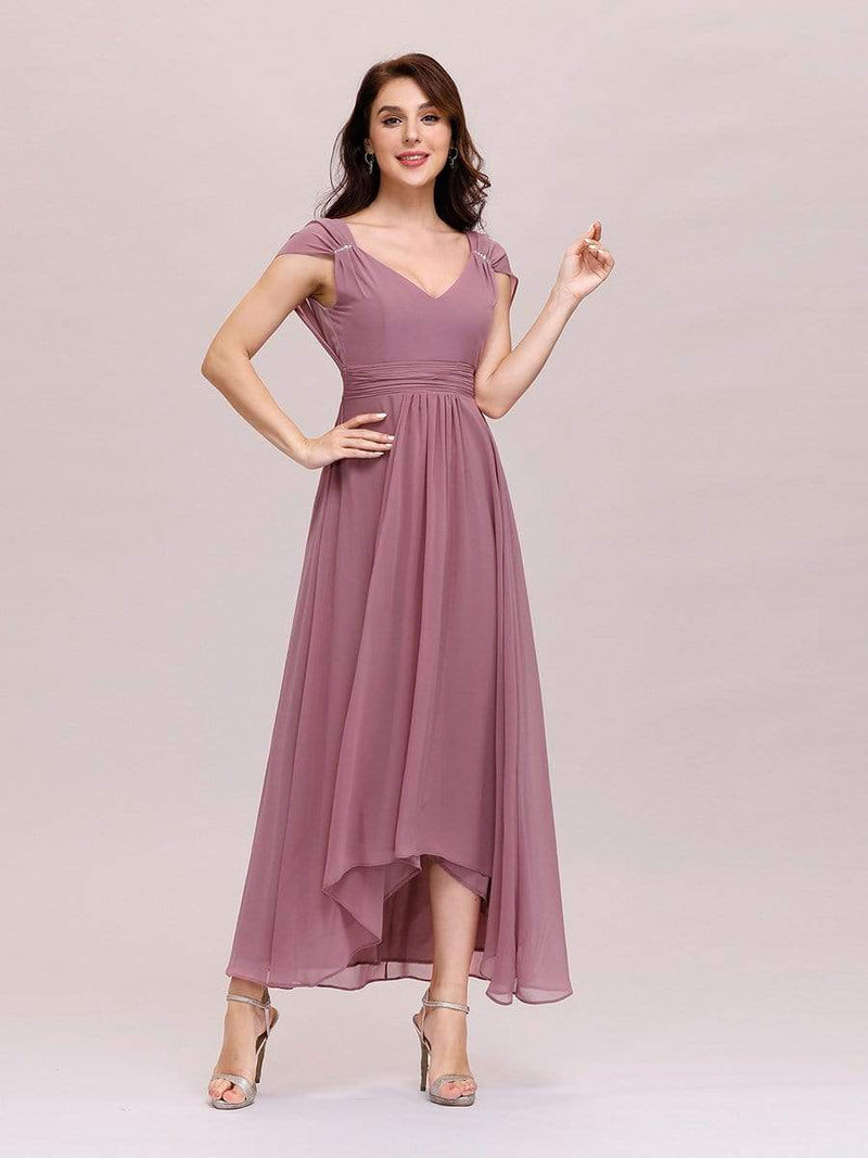 Simple V Neck Chiffon Cocktail Dress With Elastic Waist-Purple Orchid 4