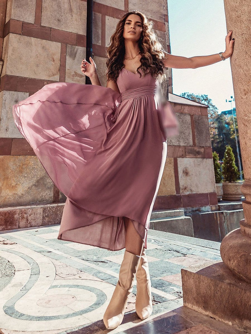 Simple V Neck Chiffon Cocktail Dress With Elastic Waist-Purple Orchid 6