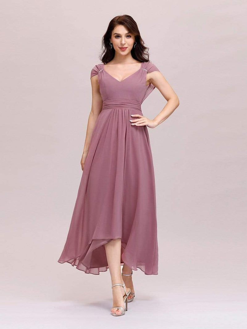 Simple V Neck Chiffon Cocktail Dress With Elastic Waist-Purple Orchid 1