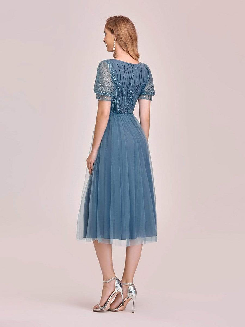 Gorgeous V Neck Tulle Knee-Length Cocktail Dress With Sequin-Dusty Navy 2