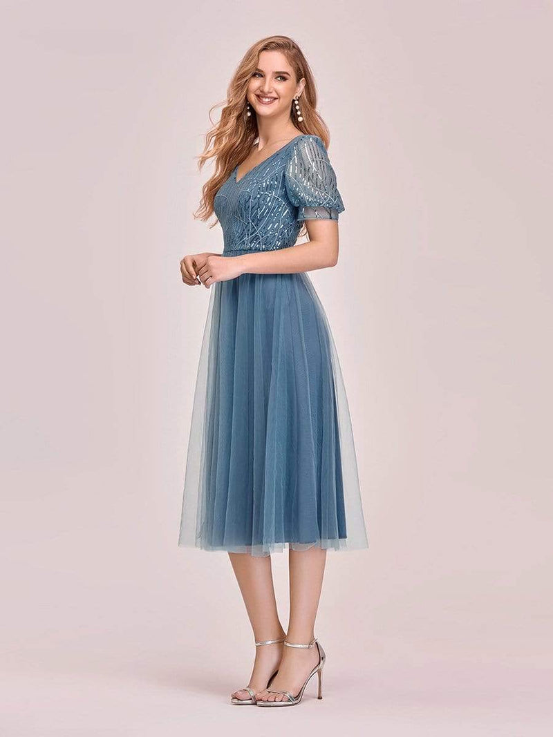 Gorgeous V Neck Tulle Knee-Length Cocktail Dress With Sequin-Dusty Navy 3