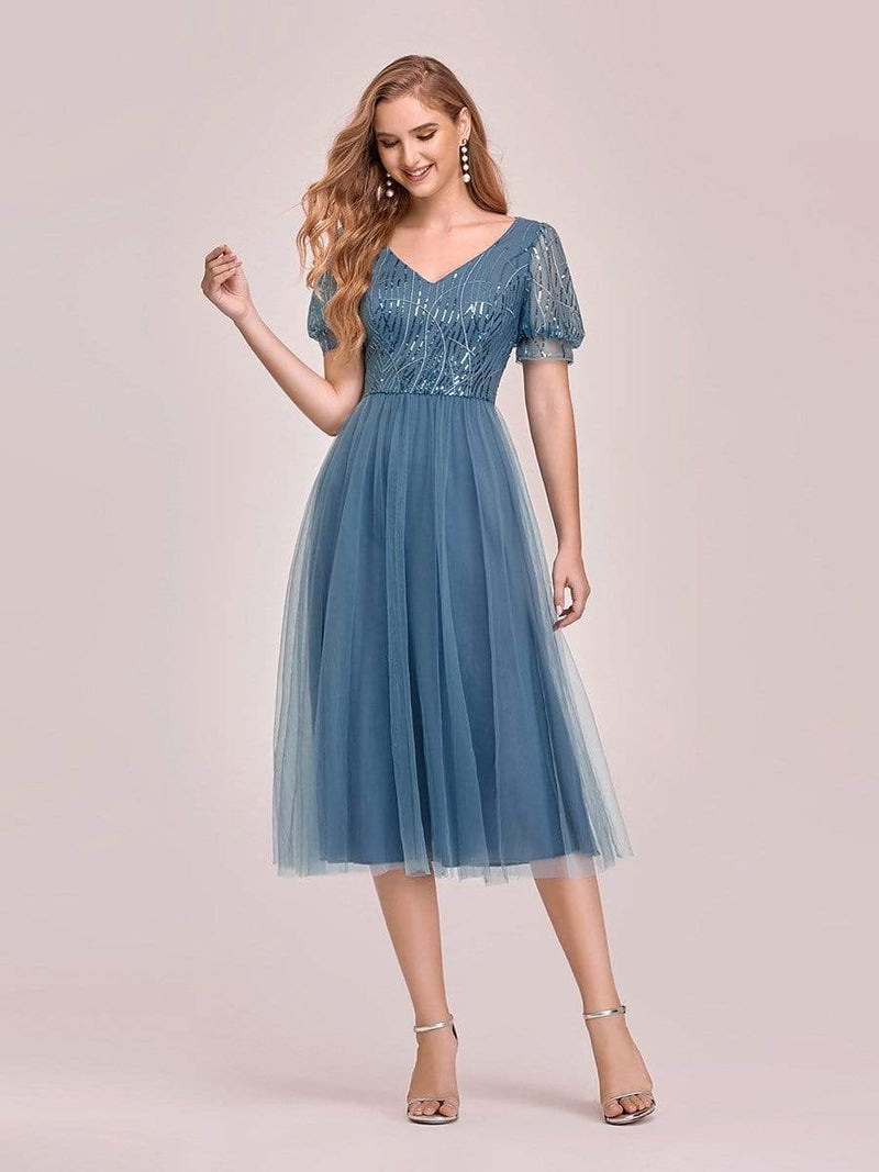 Gorgeous V Neck Tulle Knee-Length Cocktail Dress With Sequin-Dusty Navy 4