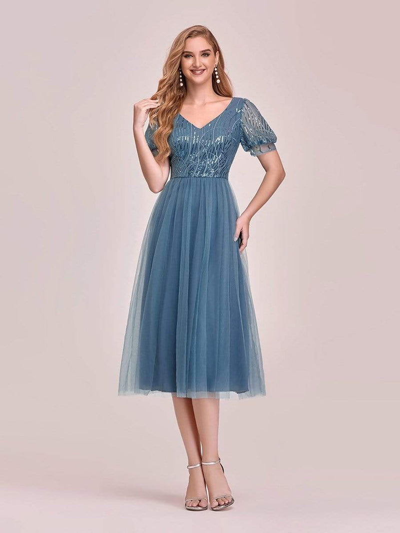 Gorgeous V Neck Tulle Knee-Length Cocktail Dress With Sequin-Dusty Navy 1