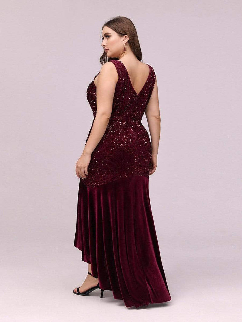 Women'S Sexy High-Low Sequin & Velvet Evening Dress For Cocktail-Burgundy 7