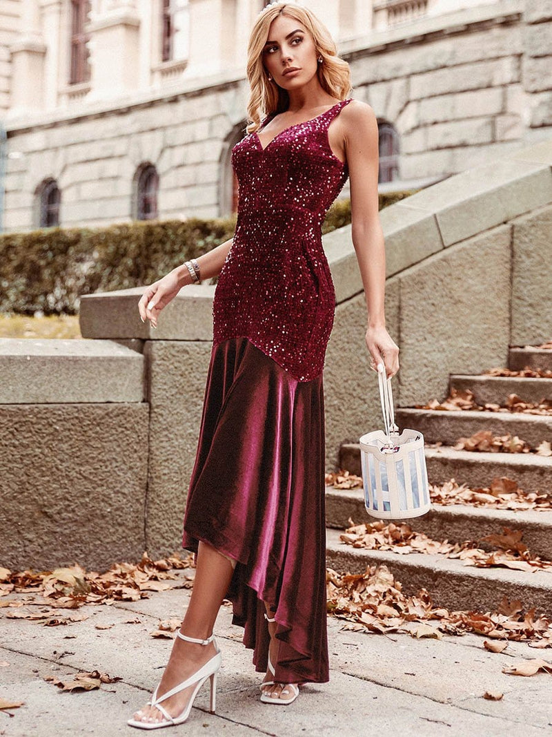 Women'S Sexy High-Low Sequin & Velvet Evening Dress For Cocktail-Burgundy 3