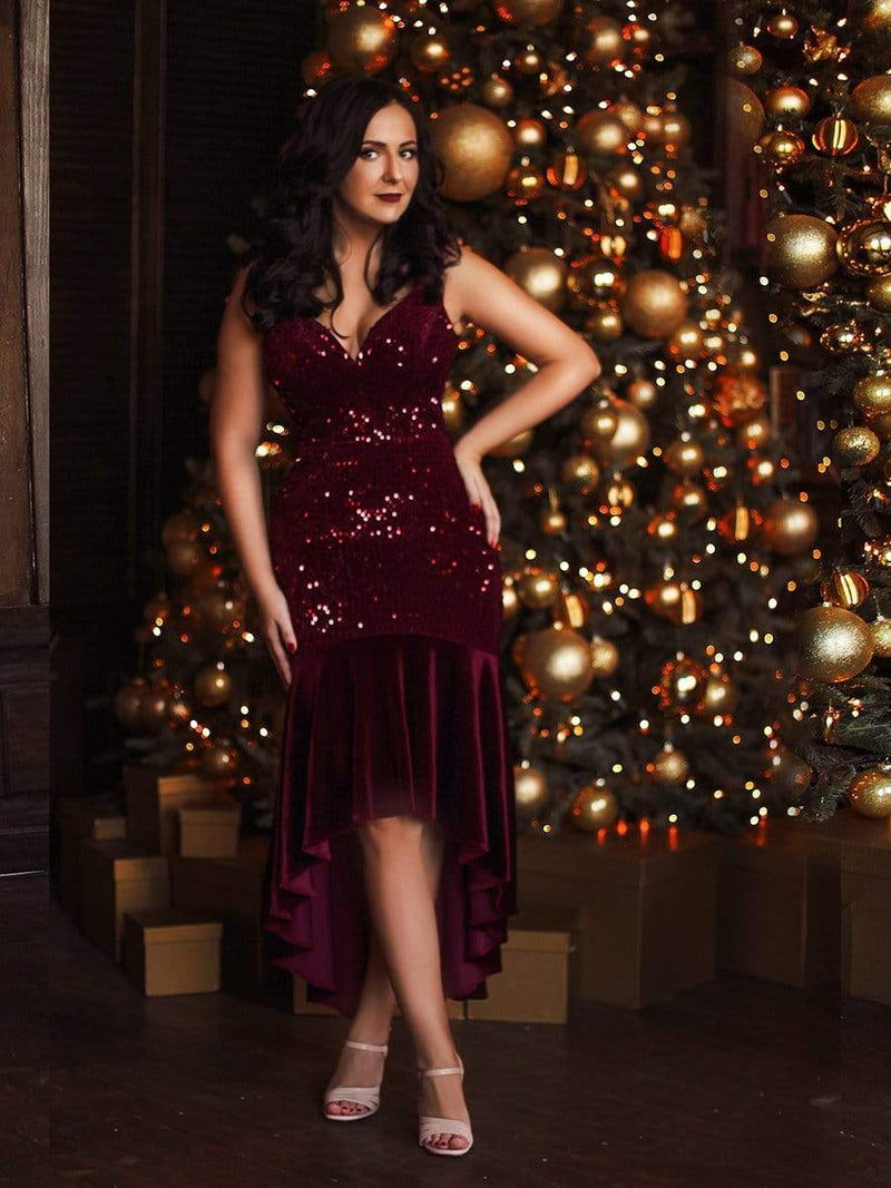 Women'S Sexy High-Low Sequin & Velvet Evening Dress For Cocktail-Burgundy 11