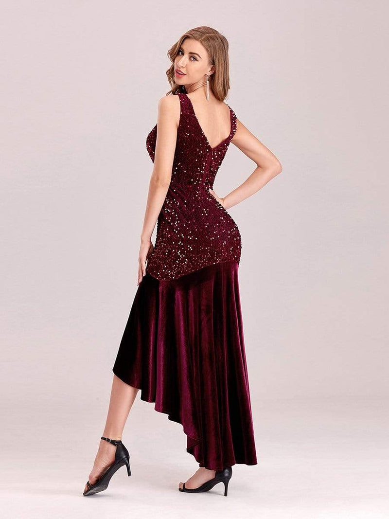 Women'S Sexy High-Low Sequin & Velvet Evening Dress For Cocktail-Burgundy 5