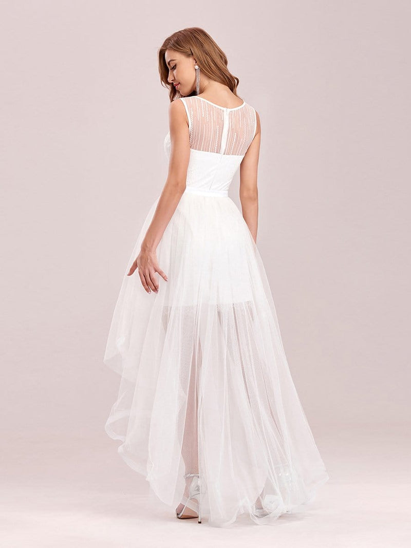 Simple Two-Piece High-Low Sleeveless Wedding Dress-Cream 2
