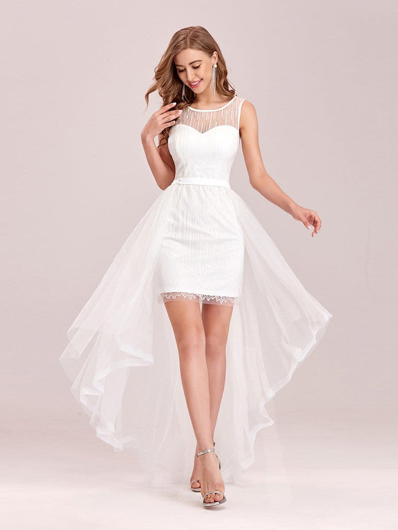 Simple Two-Piece High-Low Sleeveless Wedding Dress-Cream 3