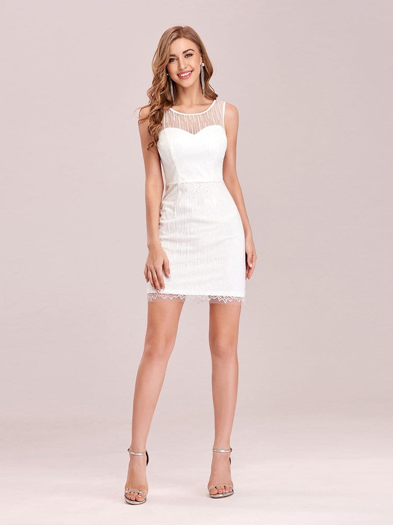 Simple Two-Piece High-Low Sleeveless Wedding Dress-Cream 4