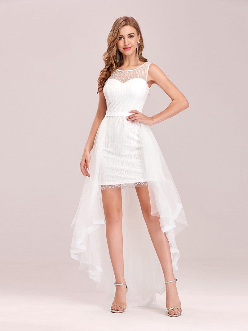 Simple Two-Piece High-Low Sleeveless Wedding Dress-Cream 1