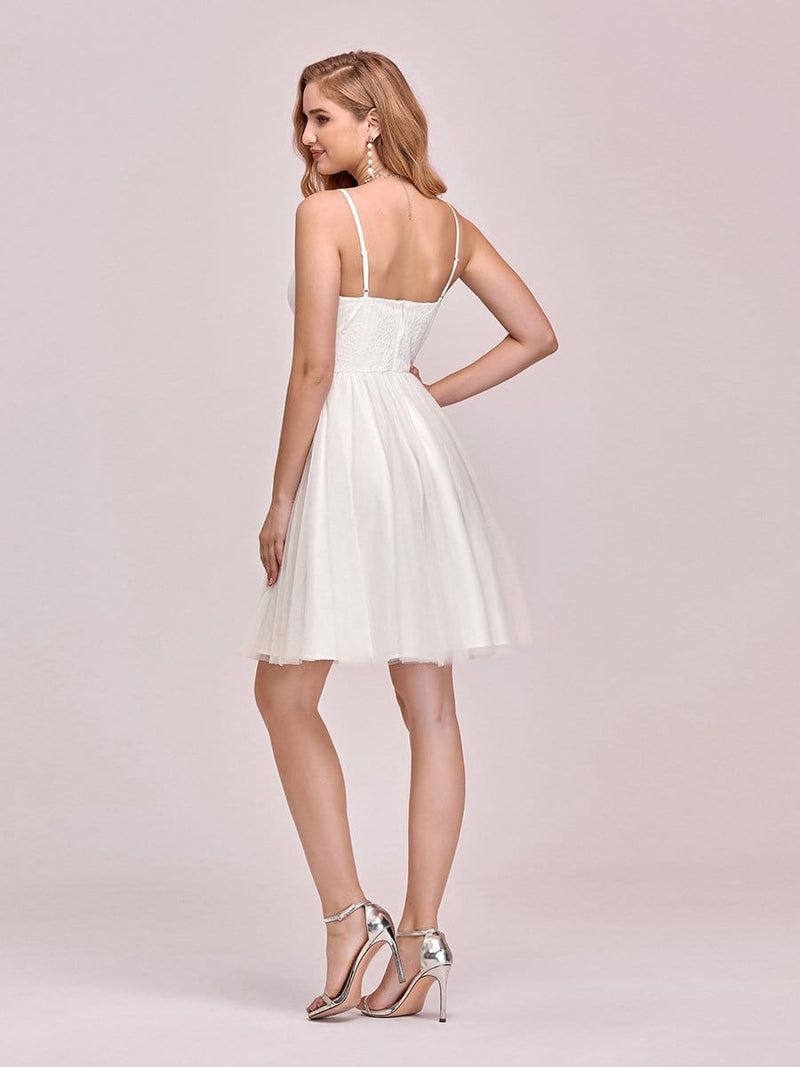Women'S Cute Deep V Neck Short Cocktail Dress For Party-Cream 3
