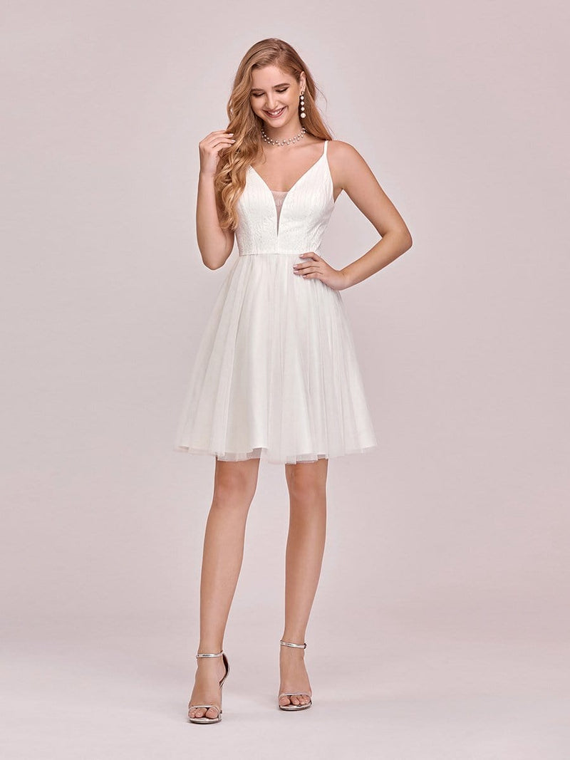 Women'S Cute Deep V Neck Short Cocktail Dress For Party-Cream 1