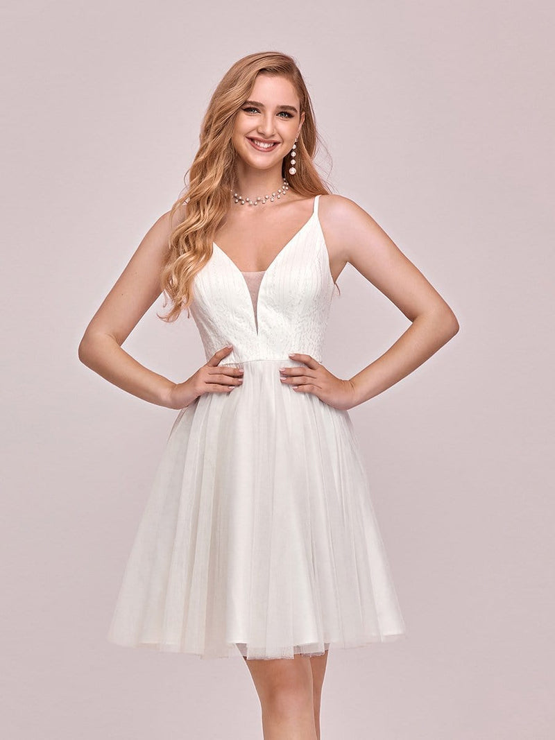 Women'S Cute Deep V Neck Short Cocktail Dress For Party-Cream 2