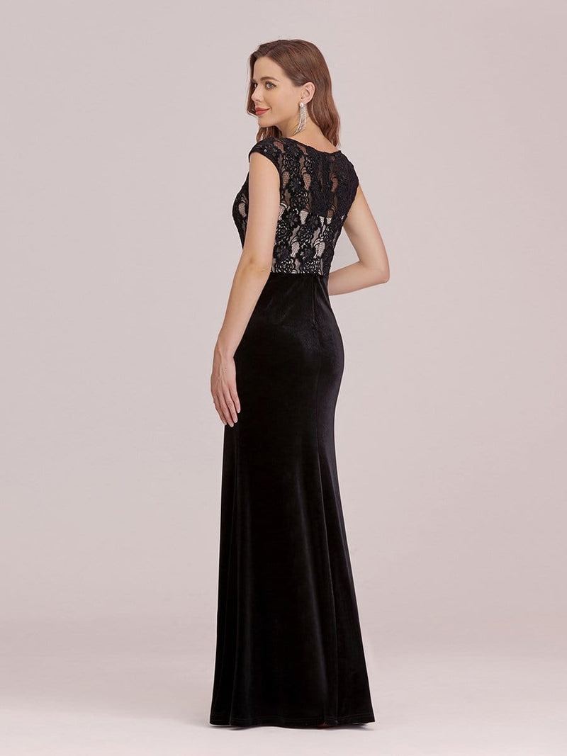 Sassy Round Neck Evening Dress With Lace And Beaded Belt-Black 2