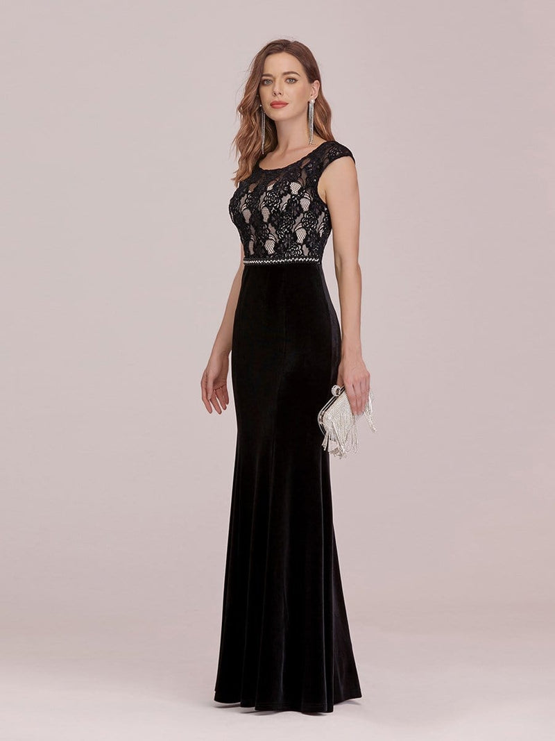 Sassy Round Neck Evening Dress With Lace And Beaded Belt-Black 3