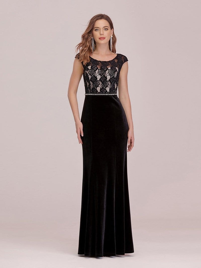 Sassy Round Neck Evening Dress With Lace And Beaded Belt-Black 4