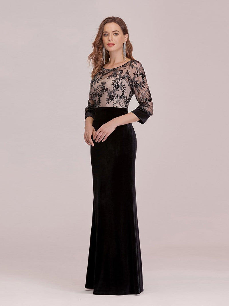 Sexy High Waist Velvet Straight Evening Dress With Lace Bodice-Black 4