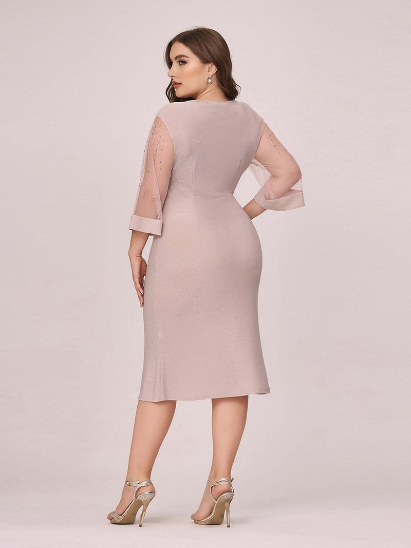Women'S Casual Bodycon Knee-Length Plus Size Casual Work Dress-Pink 2
