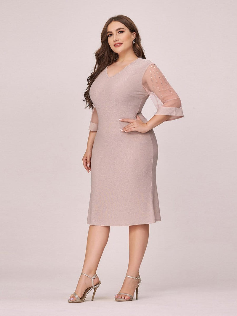 Women'S Casual Bodycon Knee-Length Plus Size Casual Work Dress-Pink 3