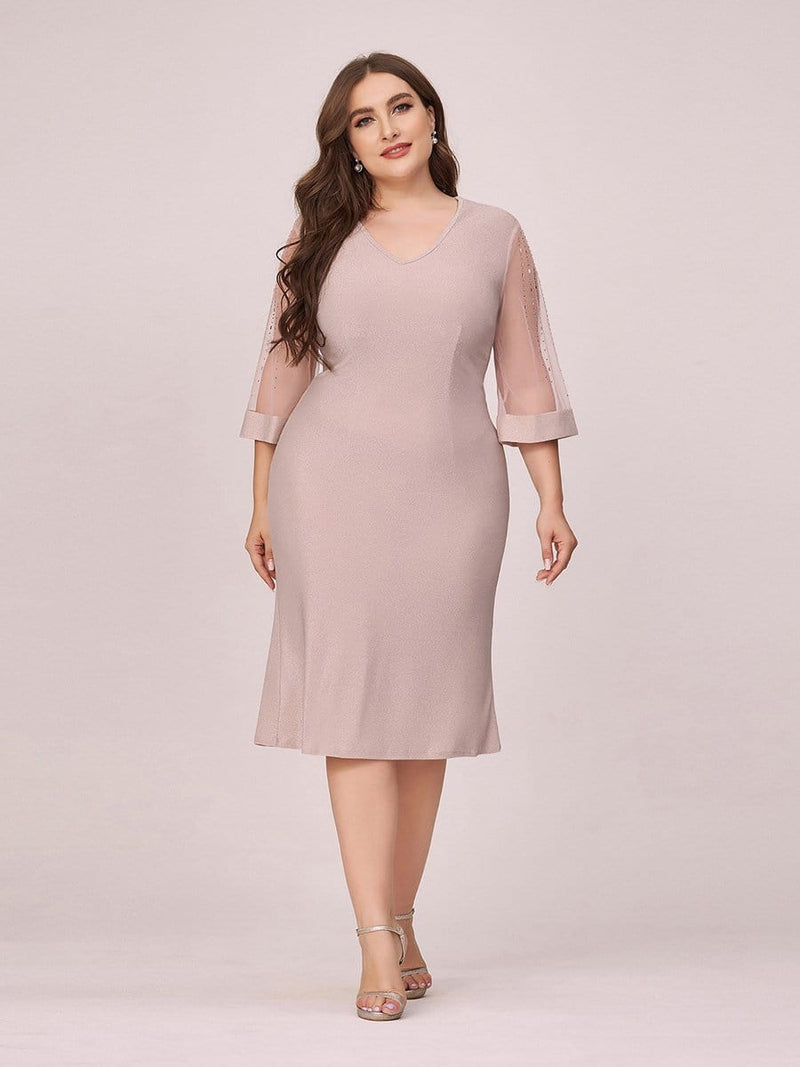 Women'S Casual Bodycon Knee-Length Plus Size Casual Work Dress-Pink 4