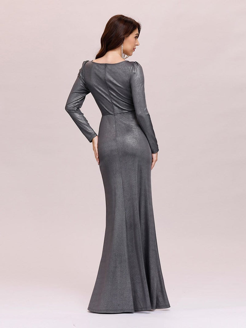 Adorable V Neck Bodycon Evening Dress With Long Sleeves-Grey 2