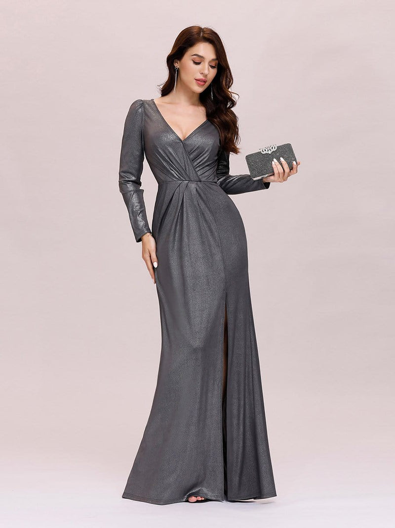Adorable V Neck Bodycon Evening Dress With Long Sleeves-Grey 3