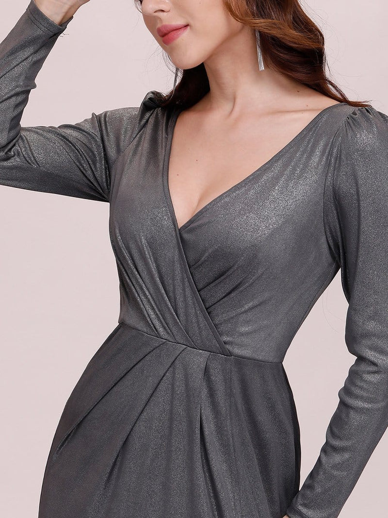 Adorable V Neck Bodycon Evening Dress With Long Sleeves-Grey 5