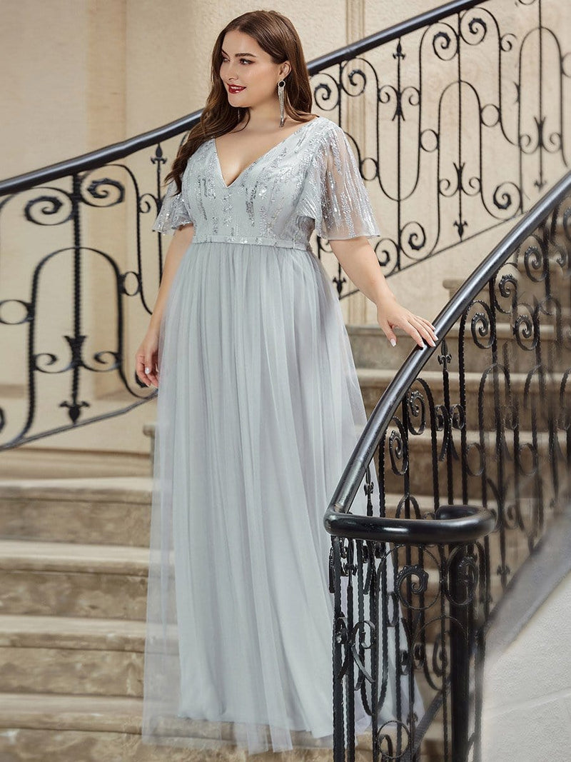 Elegant V Neck Short Sleeve A-Line Tulle Evening Dresses-Grey 8