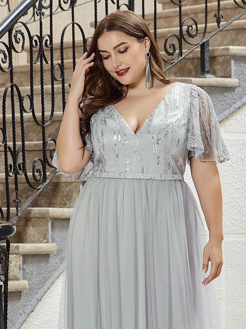Elegant V Neck Short Sleeve A-Line Tulle Evening Dresses-Grey 10