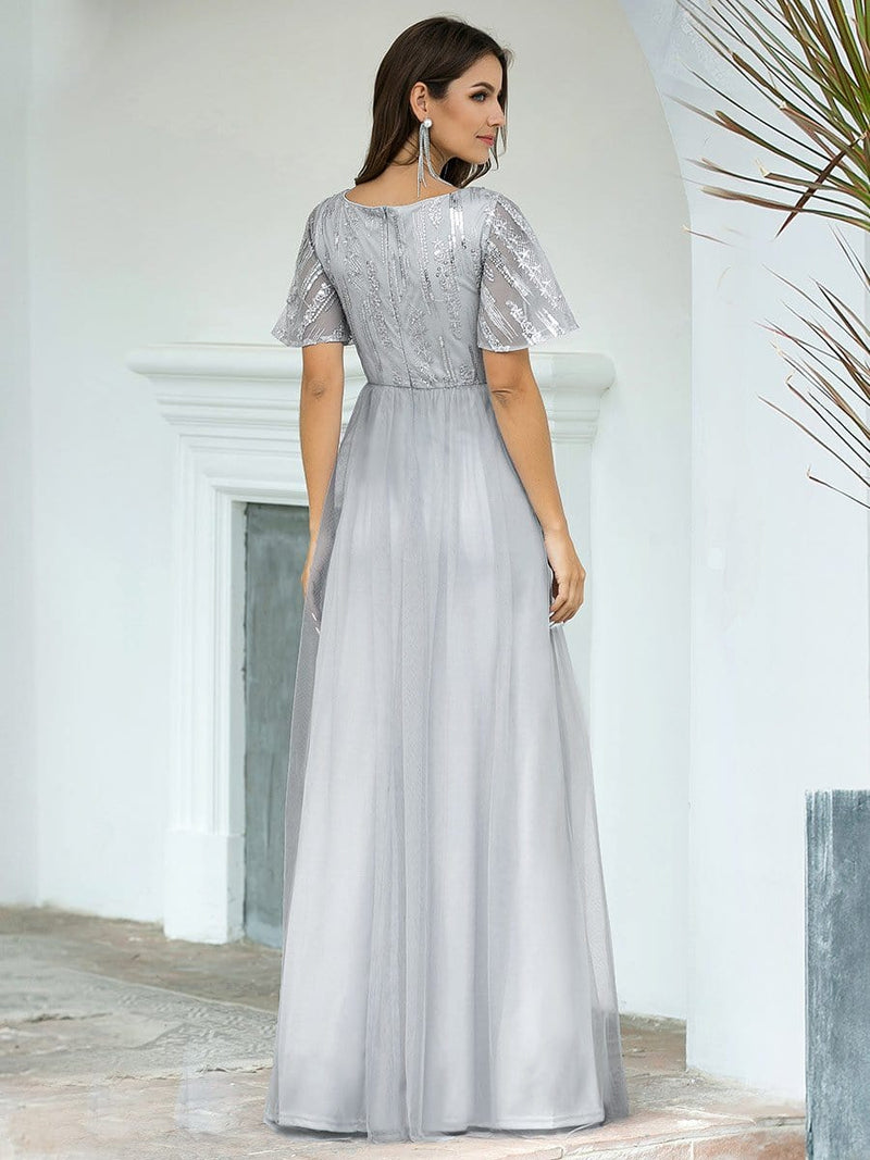 Elegant V Neck Short Sleeve A-Line Tulle Evening Dresses-Grey 2