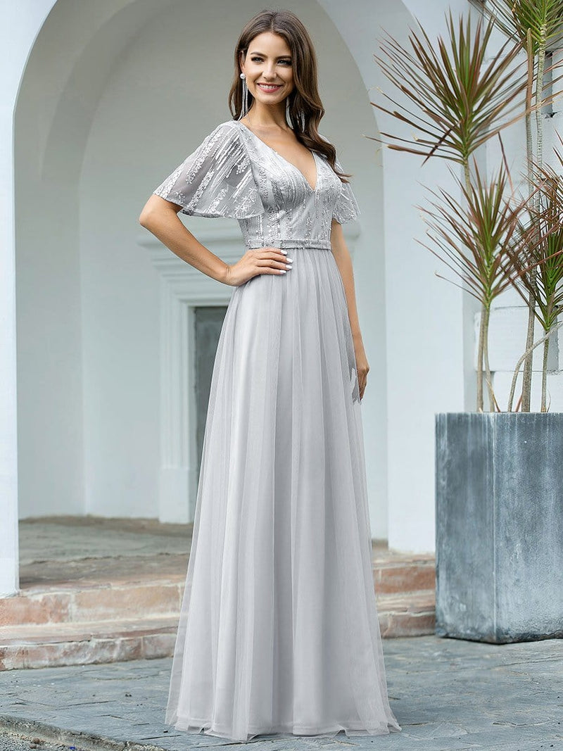 Elegant V Neck Short Sleeve A-Line Tulle Evening Dresses-Grey 3