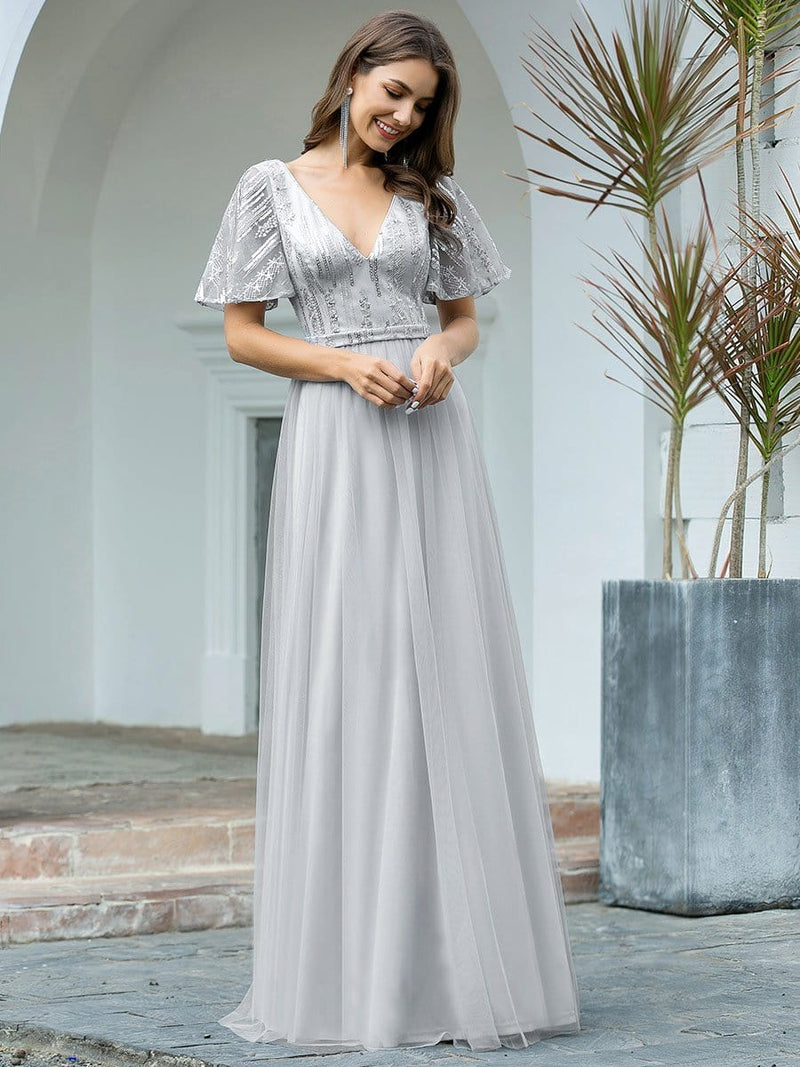 Elegant V Neck Short Sleeve A-Line Tulle Evening Dresses-Grey 4