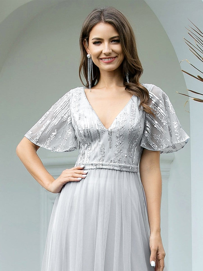 Elegant V Neck Short Sleeve A-Line Tulle Evening Dresses-Grey 5