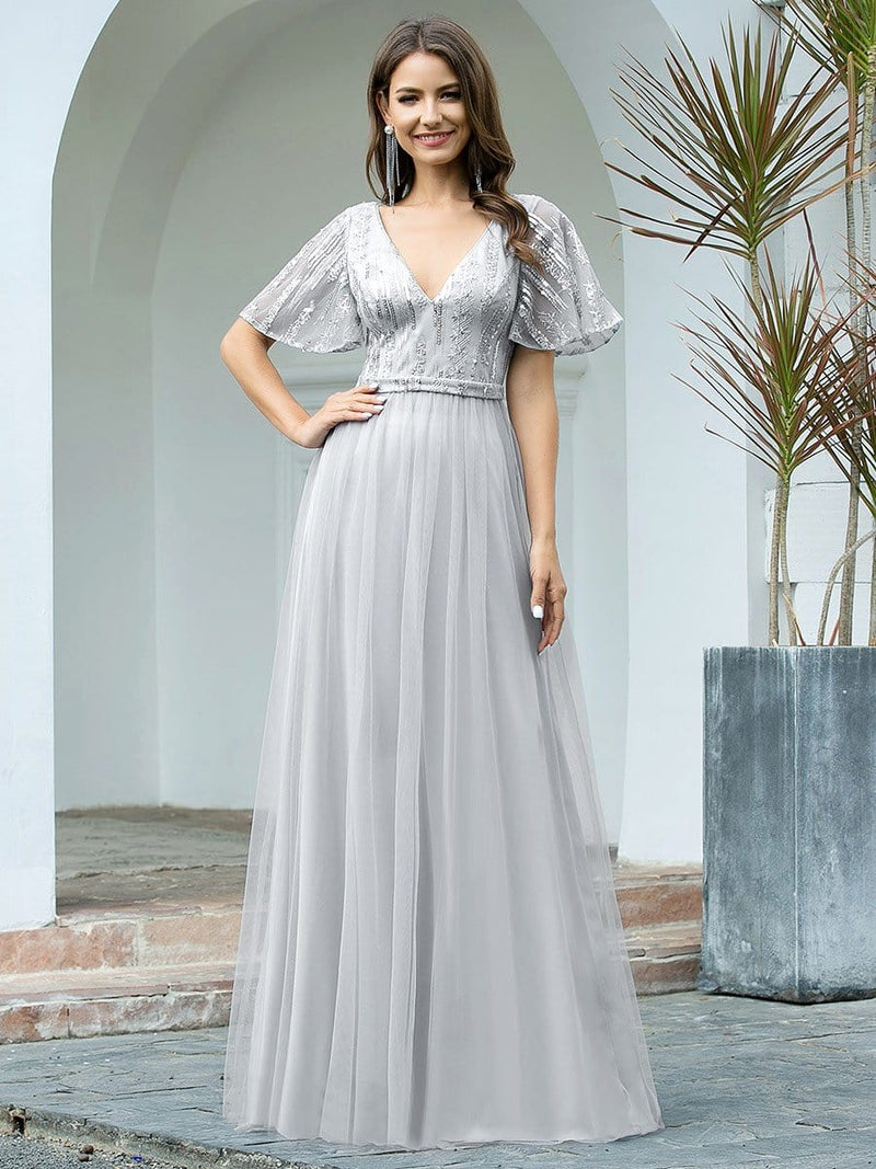 Elegant V Neck Short Sleeve A-Line Tulle Evening Dresses-Grey 1