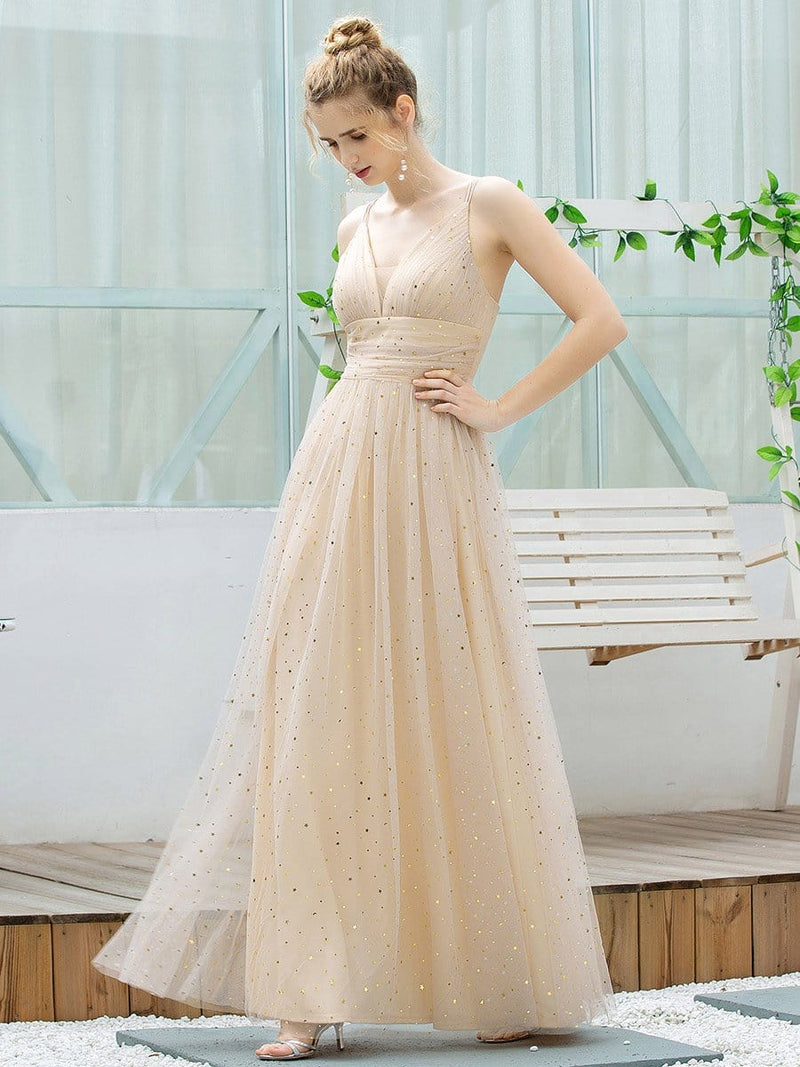 Cute Sleeveless V Neck Long Evening Dresses With Shiny Dot-Blush 4