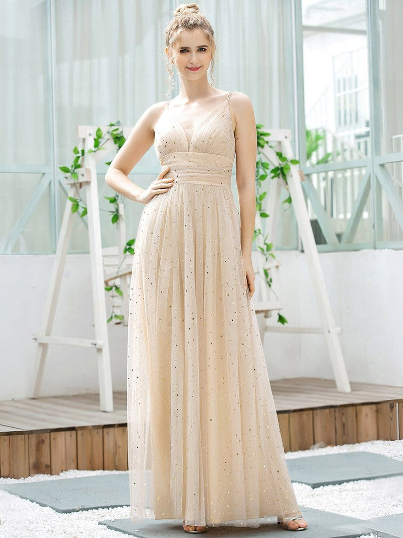 Cute Sleeveless V Neck Long Evening Dresses With Shiny Dot-Blush 1