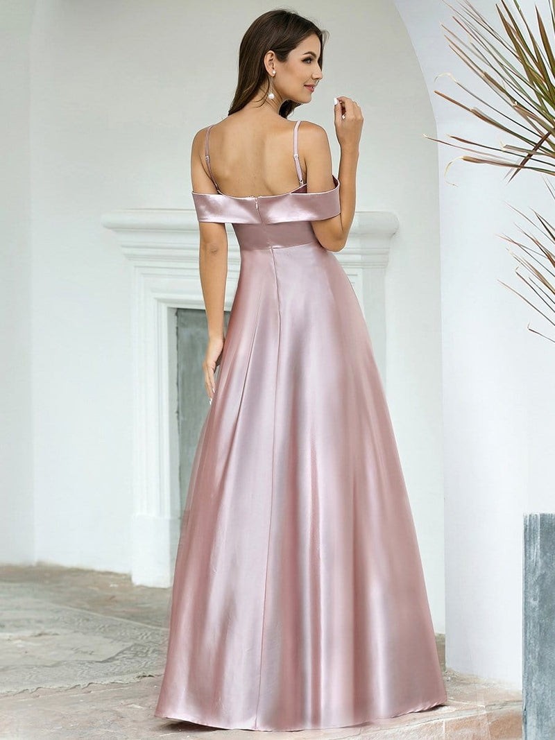 Romantic Off Shoulder With Straps A-Line Box Pleat Long Bridesmaid Dress-Mauve 2