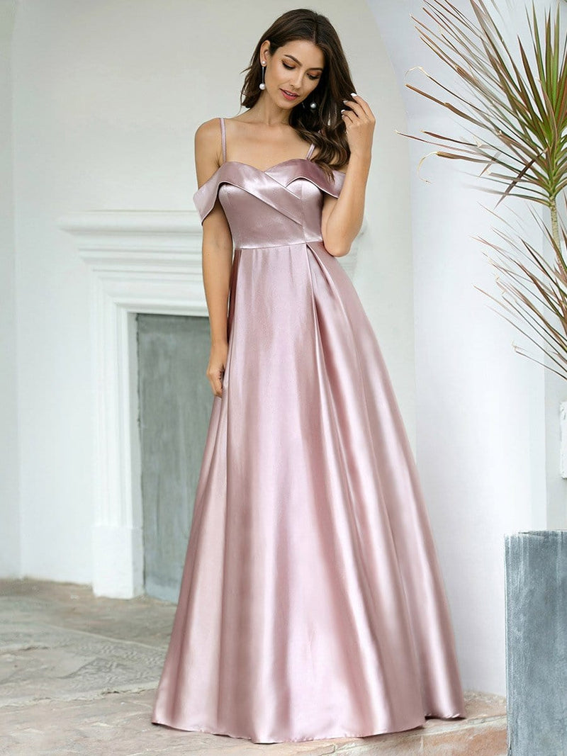 Romantic Off Shoulder With Straps A-Line Box Pleat Long Bridesmaid Dress-Mauve 3