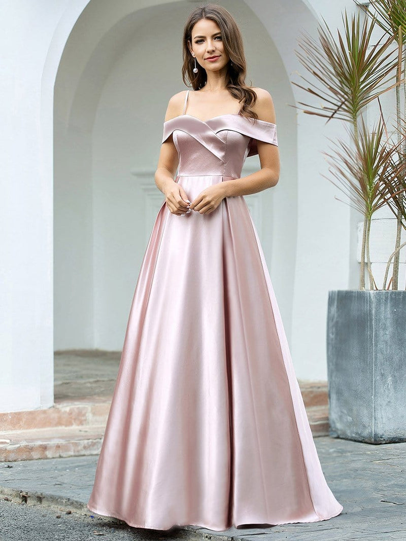 Romantic Off Shoulder With Straps A-Line Box Pleat Long Bridesmaid Dress-Mauve 4