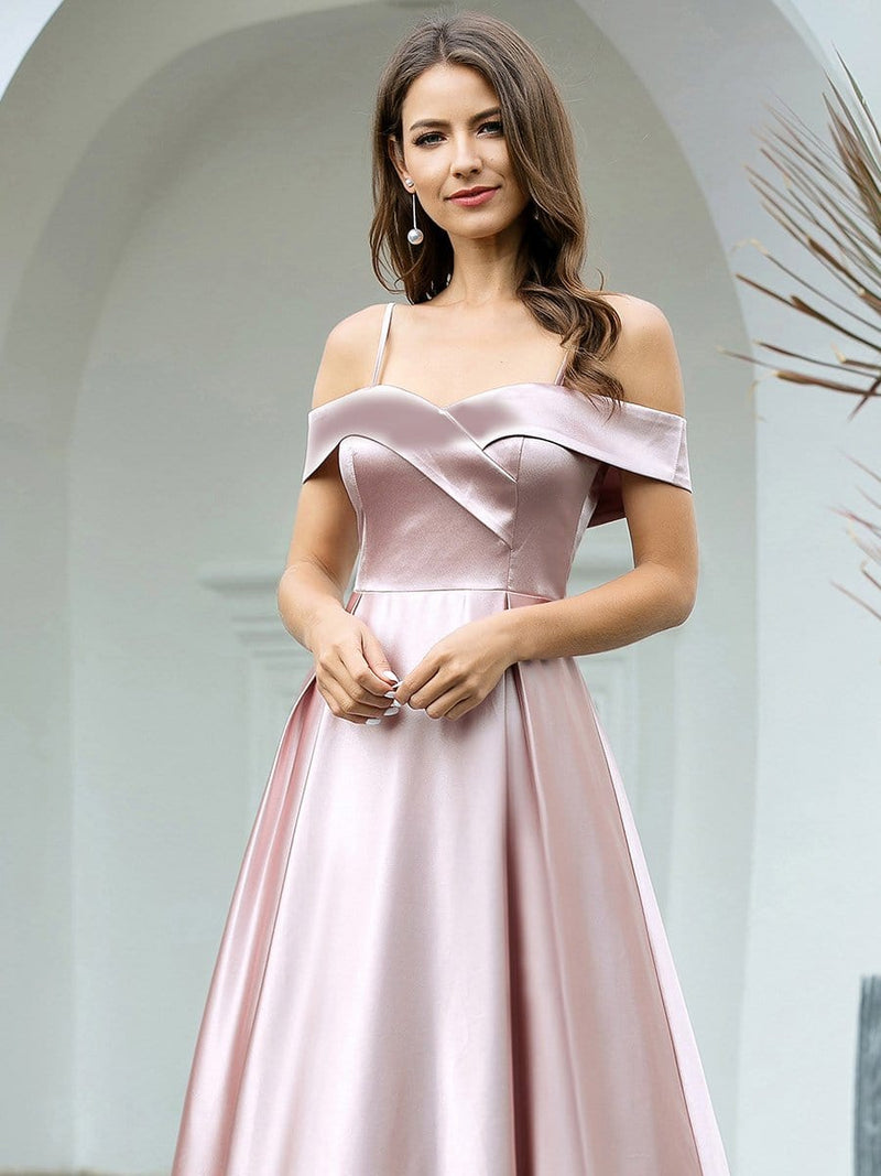 Romantic Off Shoulder With Straps A-Line Box Pleat Long Bridesmaid Dress-Mauve 5