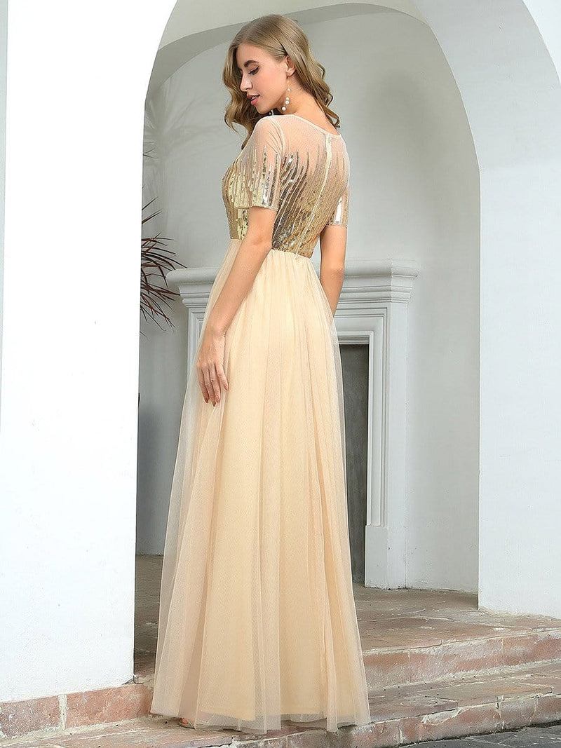Women'S Cute V Neck A-Line Tulle Evening Dress With Short Sleeves-Gold 2