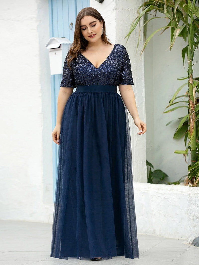 Plus Size V Neck Formal Tulle Evening Dresses With Sequin For Mom-Navy Blue 3