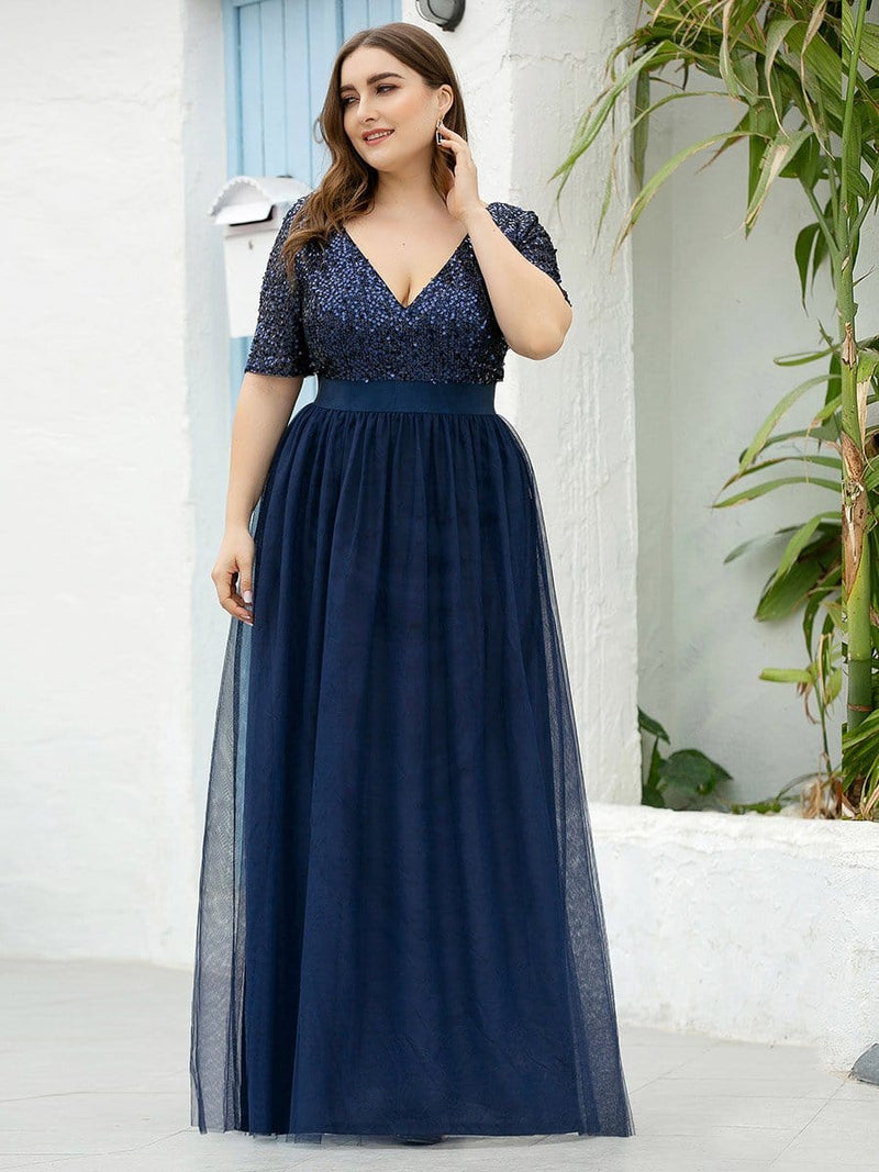 Plus Size V Neck Formal Tulle Evening Dresses With Sequin For Mom-Navy Blue 4