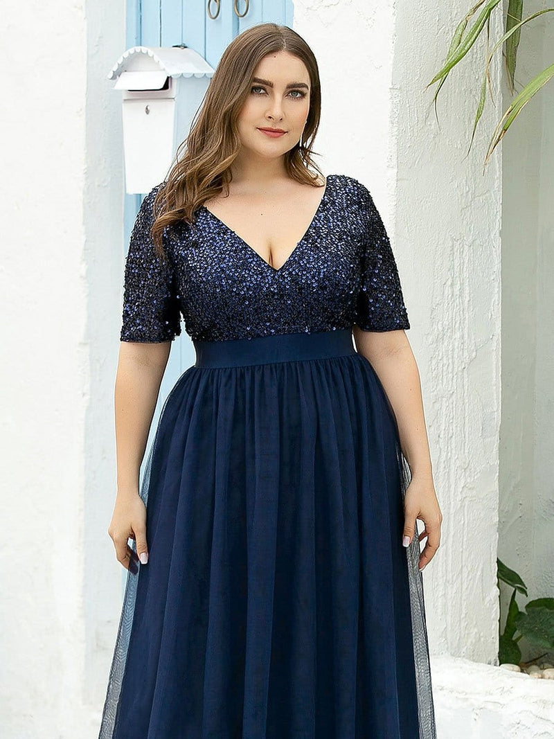 Double V Neck Short Sleeves Evening Dresses With Sequin-Navy Blue 10