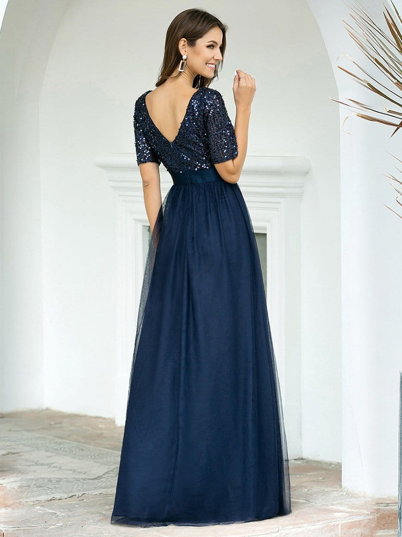 Double V Neck Short Sleeves Evening Dresses With Sequin-Navy Blue 2