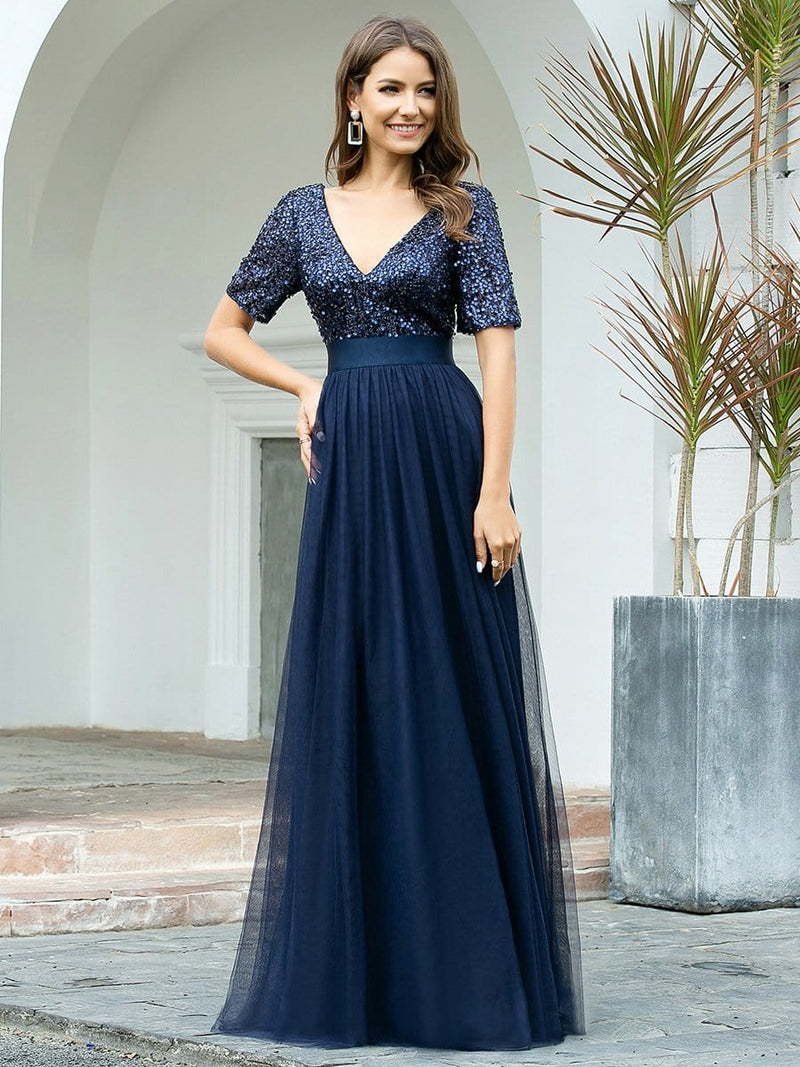 Double V Neck Short Sleeves Evening Dresses With Sequin-Navy Blue 3