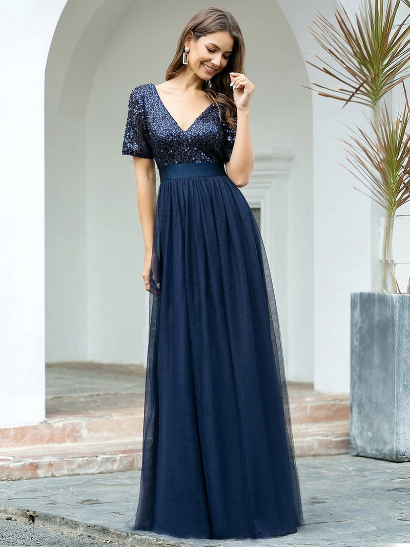 Double V Neck Short Sleeves Evening Dresses With Sequin-Navy Blue 4