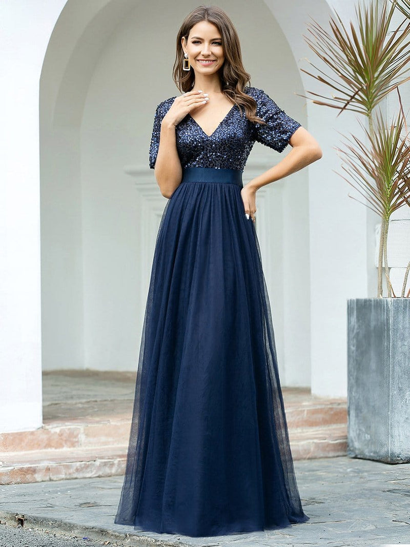Double V Neck Short Sleeves Evening Dresses With Sequin-Navy Blue 1