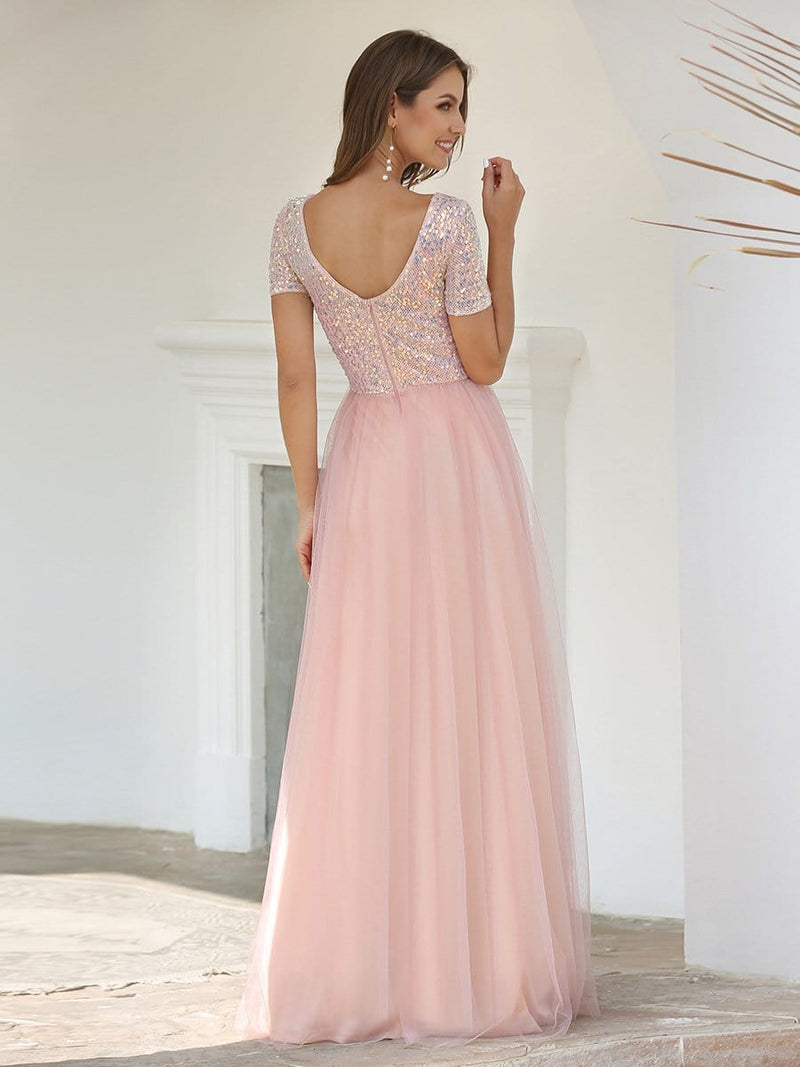 Sweet V Neck A-Line Tulle Bridesmaid Dress With Sequin-Pink 2